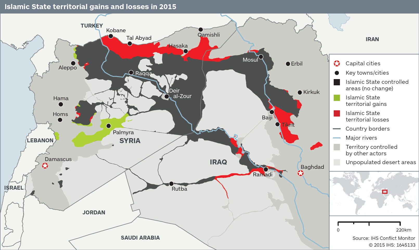 This map shows how much territory ISIS has lost this year