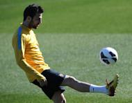 Barcelona's midfielder Cesc Fabregas controls the ball during a training session in Sant Joan d'Espi, near Barcelonaon on February 13, 2013