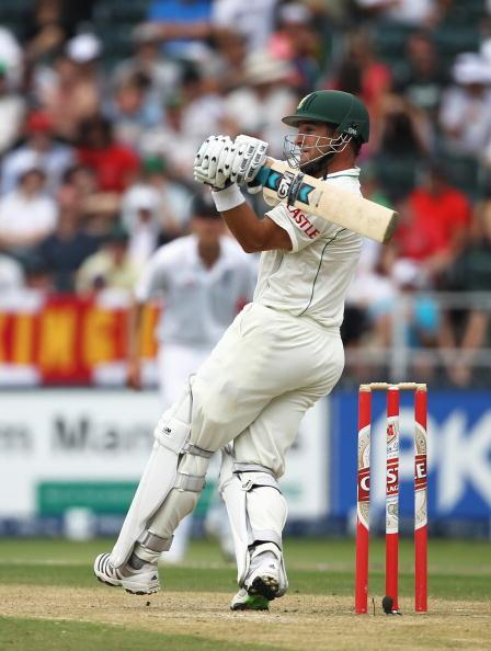 JOHANNESBURG, SOUTH AFRICA - JANUARY 16:  Mark Boucher of South Africa hits out during day three of the fourth test match between South Africa and England at The Wanderers Cricket Ground on January 16