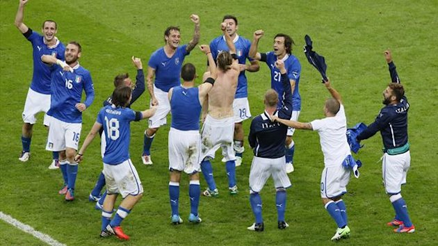 Italy celebrate their Euro 2012 victory over Germany