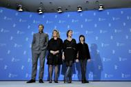 """(LtoR) US French actor Paul Hamy, French actress Catherine Deneuve, French director Emmanuelle Bercot and actor Nemo Schiffman pose during a photocall for the film """"On My Way"""" (Elle s'en va) competing in the 63rd Berlin International Film Festival Berlinale in Berlin on February 15, 2013"""