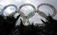 Olympic rings stand in front of the airport in Adler outside Sochi on November 30, 2013