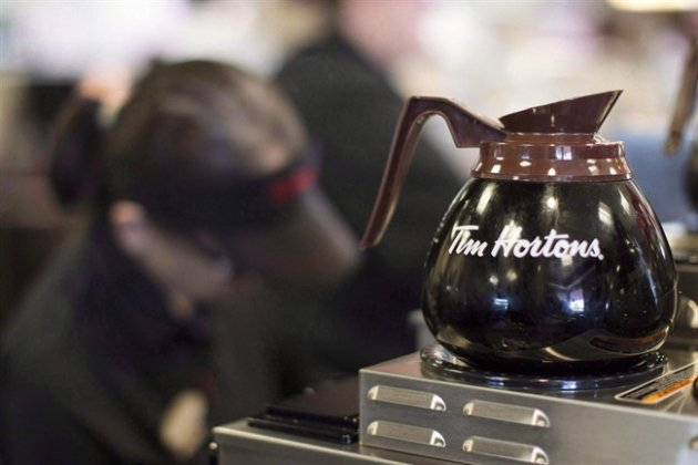 Freshly-brewed coffee sits on a hot plate in a Tim Hortons outlet in Oakville, Ont. THE CANADIAN PRESS/Chris Young