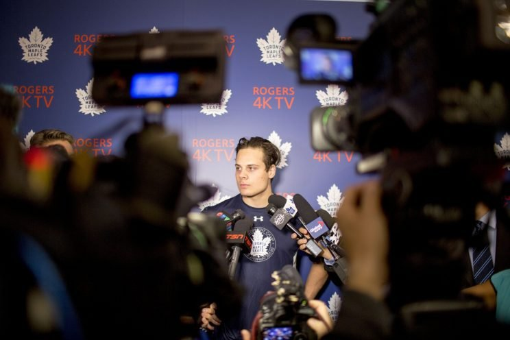 TORONTO, ON - JULY 4: Toronto Maple Leafs first pick overall Auston Matthews participates in the Leafs Development Camp. The Toronto Maple Leafs held their first rookie camp at the Mastercard Centre for Hockey Excellence. (Carlos Osorio/Toronto Star via Getty Images)