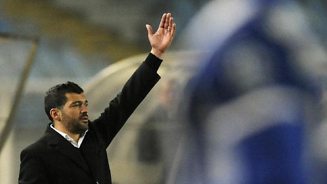 Academica's coach Sergio Conceicao reacts on the sideline in the last minutes of a Portuguese League soccer match with FC Porto at the Municipal Stadium in Coimbra, Portugal, Saturday, Nov. 30, 2013. Academica won 1-0 causing Porto's first defeat in the championship. Conceicao is a former soccer star from Porto's and Portugal's national team