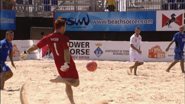 England beach football keeper scores