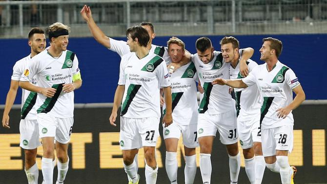 St. Gallen's team members celebrate after they scored the second goal during their Europa League Group A soccer match against Kuban Krasnodarin St. Gallen