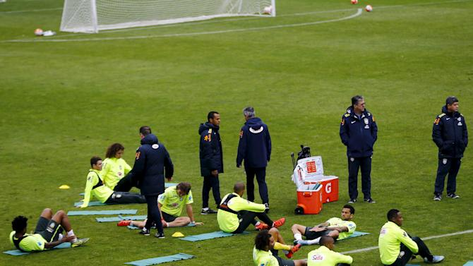 Brazil's national soccer team members attend a training session ahead of their 2018 World Cup qualifying match against Chile this Thursday at Santiago