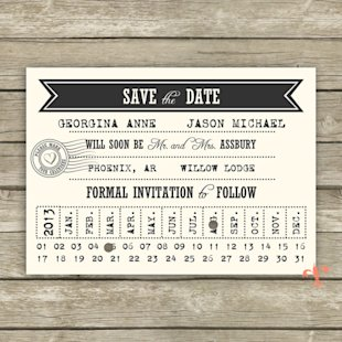 Punch Card Save the Date // Printable Save the Date // Printable Wedding