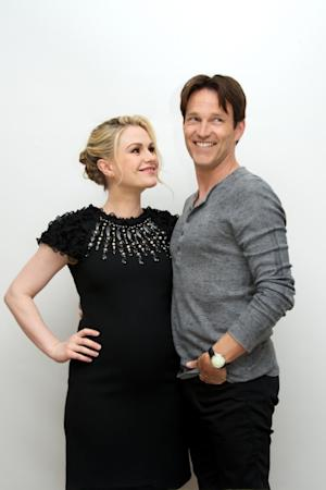 Anna Paquin and Stephen Moyer at the 'True Blood' Press Conference at the Four Seasons Hotel, Beverly Hills, on June 24, 2012 -- Getty Images