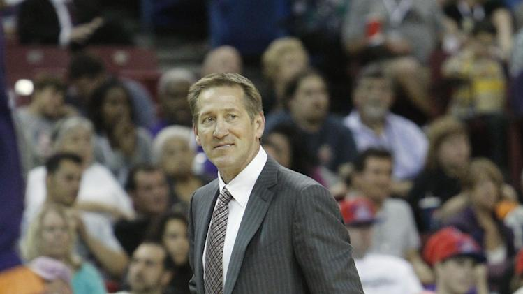 Phoenix Suns head coach Jeff Hornacek walks the sidelines during the third quarter of an NBA preseason basketball game against the Sacramento Kings in Sacramento, Calif., Thursday, Oct. 17, 2013.  The Kings won 107-90