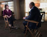 """In this Feb. 2, 2017 photo provided by CBS, host Phillip McGraw, right, talks with Kala Brown, the 30-year-old woman from South Carolina who was kidnapped with her boyfriend in August 2016, for an interview on his television show, """"Dr. Phil,"""" in Los Angeles. This week's episodes mark the first time she's talked publicly since her Nov. 3 rescue. The CBS two-part """"Dr. Phil"""" episodes air Monday, Feb. 13th and Tuesday, Feb. 14th. (CBS via AP)"""