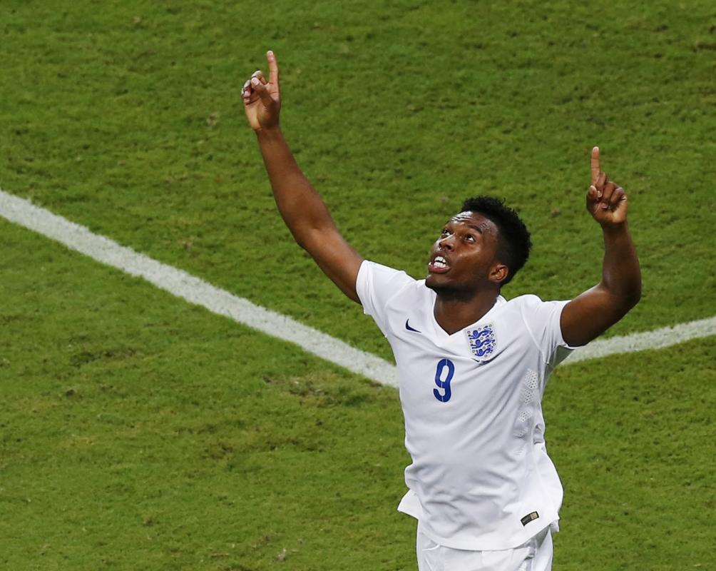 England's Sturridge celebrates after scoring a goal during their 2014 World Cup Group D soccer match against Italy at the Amazonia arena in Manaus