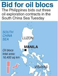 Graphic map of the Philippines locating the three oil and gas exploration contracts in the South China Sea that will be bidded out Tuesday