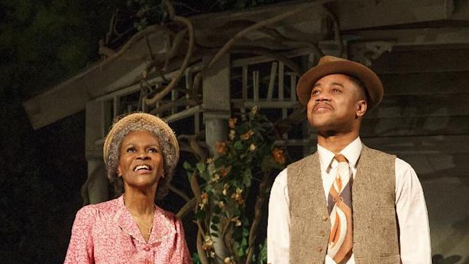 "This theater publicity image released by The Hartman Group shows Cicely Tyson, left, and Cuba Gooding Jr., during a performance of ""The Trip to Bountiful"" at the Stephen Sondheim Theatre in New York. (AP Photo/The Hartman Group, Joan Marcus)"