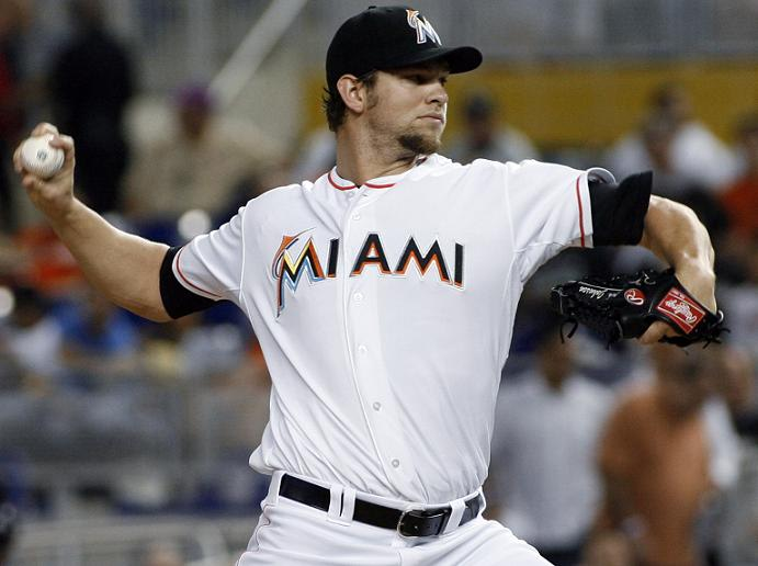 Josh Johnson pitches for the Miami Marlins in 2012. He's attempting a comeback with the San Francisco Giants. (AP)