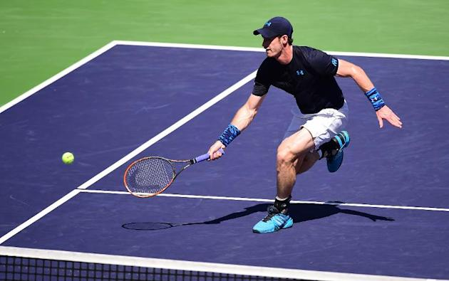 Andy Murray during his BNP Paribas Tennis Open match against Novak Djokovic in Indian Wells on March 21, 2015