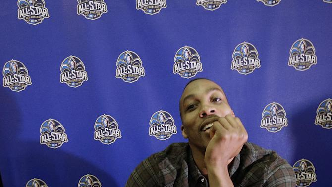 Houston Rockets Dwight Howard speaks during the NBA All Star basketball news conference, Friday, Feb. 14, 2014, in New Orleans. The 63rd annual NBA All Star game will be played Sunday in New Orleans