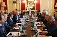 "Arab and Western foreign ministers hold the ""London 11"" meeting of the Friends of Syria Core Group at Lancaster House in London on October 22, 2013"