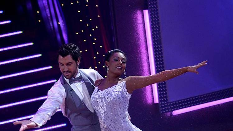 Maksim Chmerkovskiy and Melanie Brown perform a dance on the 5th season of Dancing with the Stars.