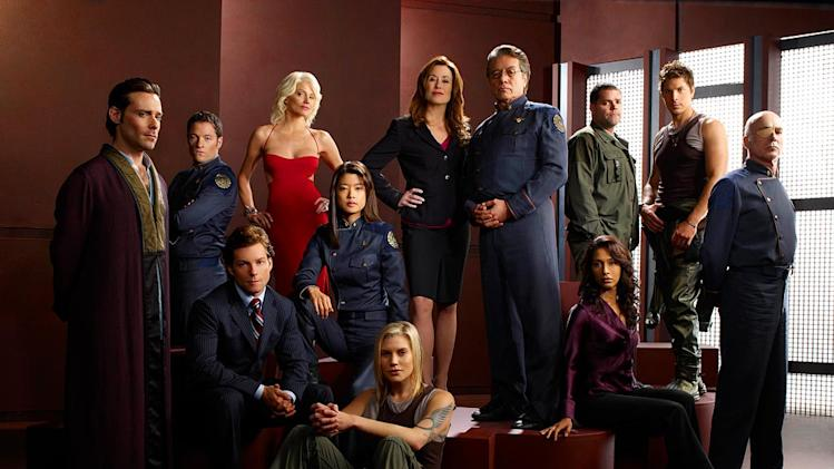 Cast of Battlestar Galactica on the Sci Fi Channel.