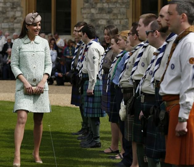 Kate Middleton Covers Her Baby Bump In Mulberry's Mint Tweed Coat For Scouting Parade