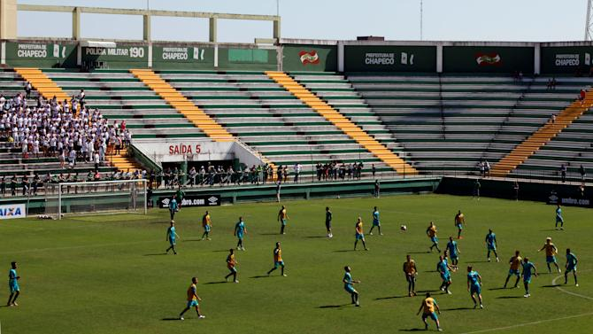 Soccer players of Chapecoense attend a training session at Arena Conda stadium in Chapeco