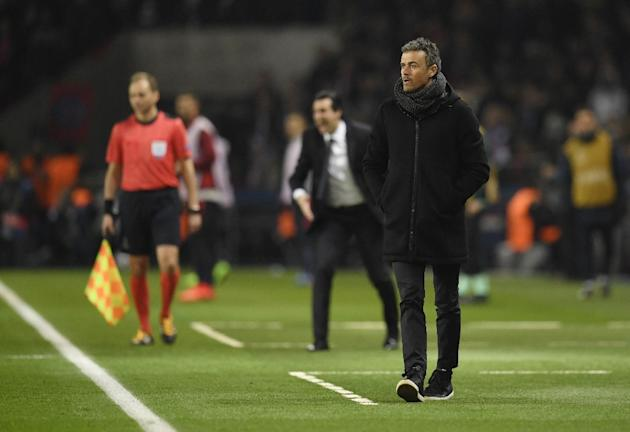Barcelona's coach Luis Enrique looks on during the UEFA Champions League round of 16 first leg football match between Paris Saint-Germain and FC Barcelona on February 14, 2017