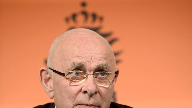 Van Praag, the president of the Dutch Football Association, speaks during a news conference in Amsterdam