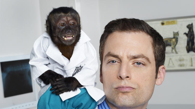 "This image released by NBC shows Crystal as Dr. Zaius, Justin Kirk as Dr. George Coleman -from the NBC comedy ""Animal Practice."" The series, which premiered in the fall, was canceled by the network. (AP Photo/NBC, Chris Haston)"