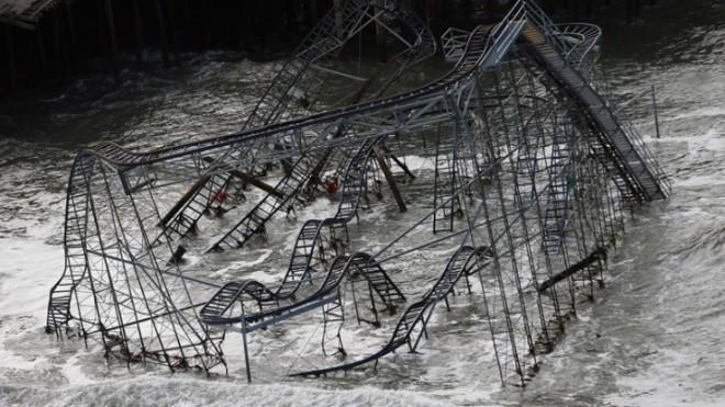 A roller coaster destroyed by superstorm Sandy in Seaside Heights, New Jersey.