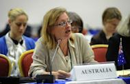 Australia's Commissioner Donna Petrachenko addresses the audience during the 64th Annual meeting of the International Whaling Commission in Panama City
