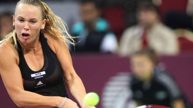 Tennis - Wozniacki fights to victory over Hantuchova