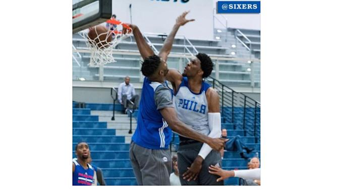 Joel Embiid dunking in practice, feels like 'best player on the floor'