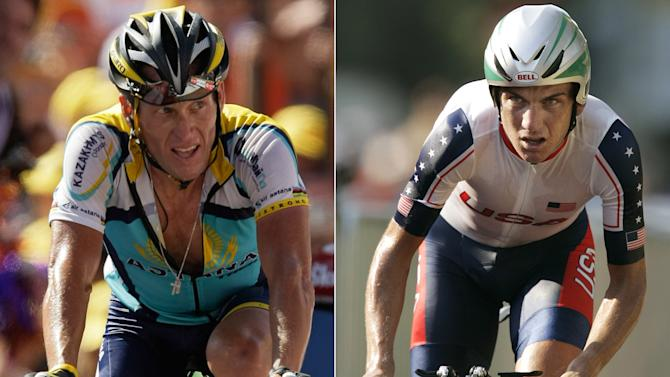 At left, in a July 19, 2009 file photo Lance Armstrong competes during the 15th stage of the Tour de France cycling race between Pontarlier, France and Verbier, Switzerland. At right, in an Aug. 18, 2004 file photo, Tyler Hamilton competes in the men's road individual time trial at the 2004 Olympic games on the outskirts of Athens. Shortly after Hamilton beat Armstrong in a race in 2004, he found himself in the offices of the international cycling federation, asked to explain himself. (AP Photo/File)