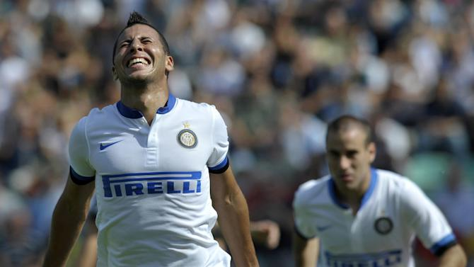 Inter Milan's Saphir Taider, of Algeria, celebrates after scoring a goal during their Serie A soccer match against Sassuolo, at Reggio Emilia's Mapei stadium, Italy, Sunday, Sept. 22, 2013. Inter Milan won 7-0