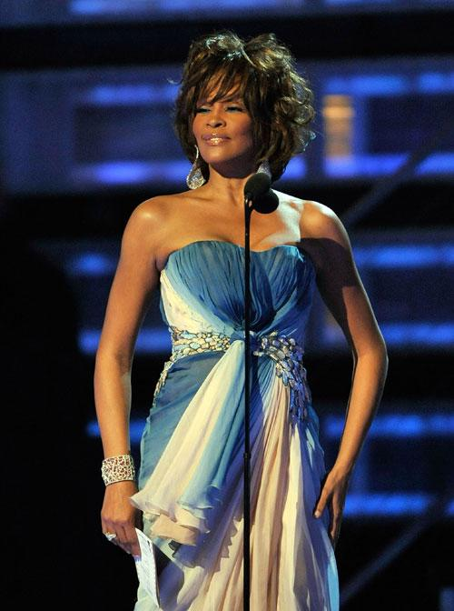 Singer Whitney Houston speaks onstage during the 51st Annual Grammy Awards held at the Staples Center on February 8, 2009 in Los Angeles, California. (Photo by Kevin Winter/Getty Images)