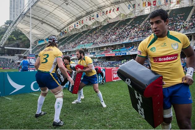 Brazilian players before a match on the first day of the rugby sevens tournament in Hong Kong, March 27, 2015