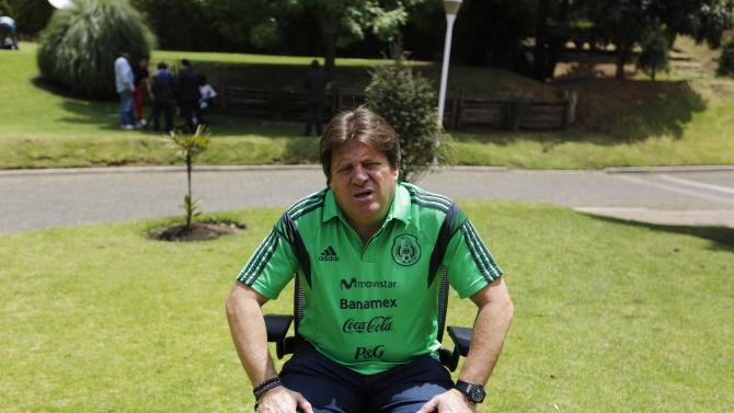 Mexico's coach Miguel Herrera talks to Reuters in Mexico City