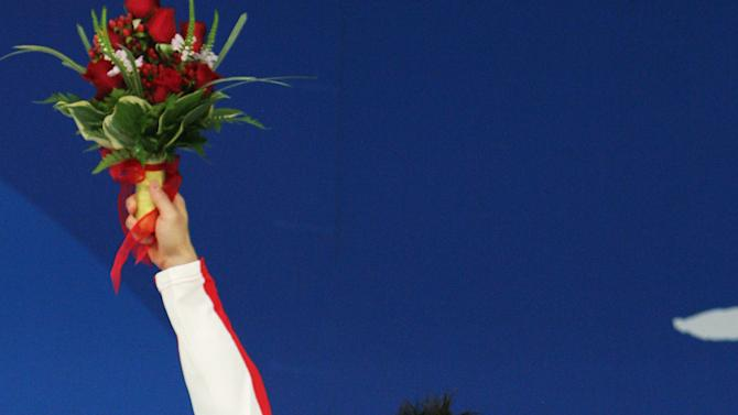 Silver medalist Alexandre Despatie of Canada celebrates at the Beijing 2008 Olympic Games