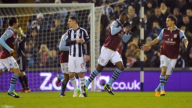 Aston Villa's Christian Benteke celebrates scoring the opening goal of the game