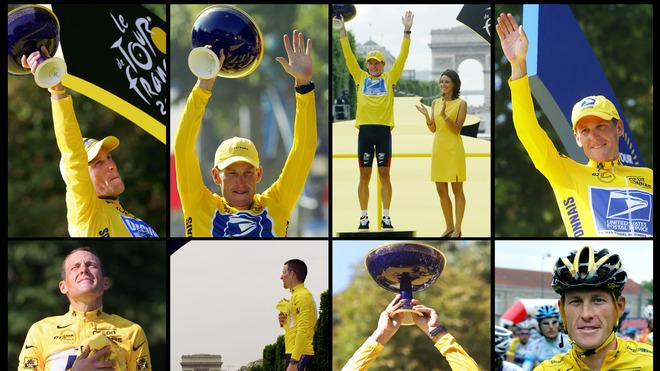 Seven File Pictures (LtoR, Top To Bottom) Taken In 2005, 2004, 2003, 2002, 2001, 2000 And 1999 Of US Cyclist Lance  AFP/Getty Images