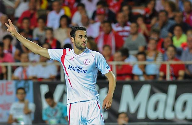 Sevilla's Vicente Iborra during the Spanish league match against Real Madrid in Sevilla on May 2, 2015