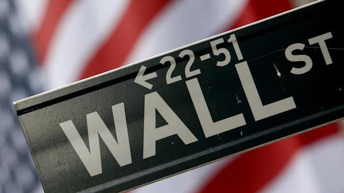 A street sign is seen in front of the New York Stock Exchange on Wall Street in New York