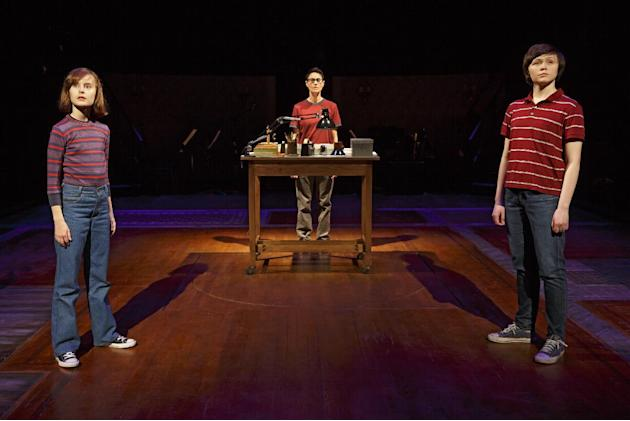 """This photo provided by O&M Co shows Sydney Lucas as Small Alison, Beth Malone as Alison, and Emily Skeggs as Medium Alison in """"Fun Home"""" at Circle in the Square Theatre in New York. """"Fu"""