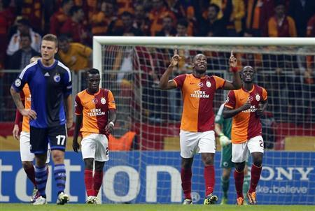 Didier Drogba of Galatasaray (2nd R) celebrates his goal against FC Copenhagen during their Champions League soccer match in Istanbul October 23, 2013. REUTERS/Murad Sezer