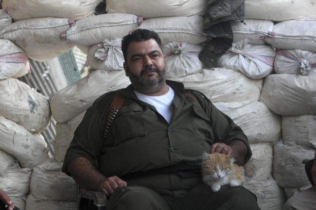 A Free Syrian Army fighter strokes a cat while sitting behind sandbags in Aleppo
