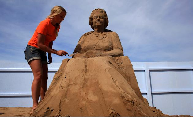 Artists Put The Finishing Touches To The Weston Super Mare Sand Sculptures