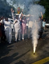 Supporters of Pranab Mukherjee set off fireworks as they celebrate outside his residence in New Delhi. Mukherjee was elected Indian president after votes from national and state lawmakers were counted in the race for the mainly ceremonial post