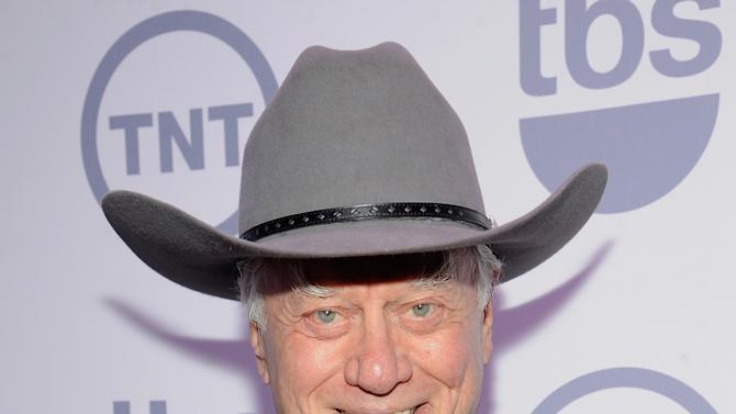 "FILE - This May 16, 2012 file photo shows actor Larry Hagman from the show ""Dallas"" at the TNT and TBS upfront presentation at the Hammerstein Ballroom in New York. TNT begins the second season of its ""Dallas"" revival next month. The network said Tuesday, Dec. 11, that it will hold a funeral for Larry Hagman's memorable character at some point in the 15-episode season but that it hasn't been filmed or scheduled yet. Hagman died at age 81 over the Thanksgiving weekend. (AP Photo/Evan Agostini, file)"